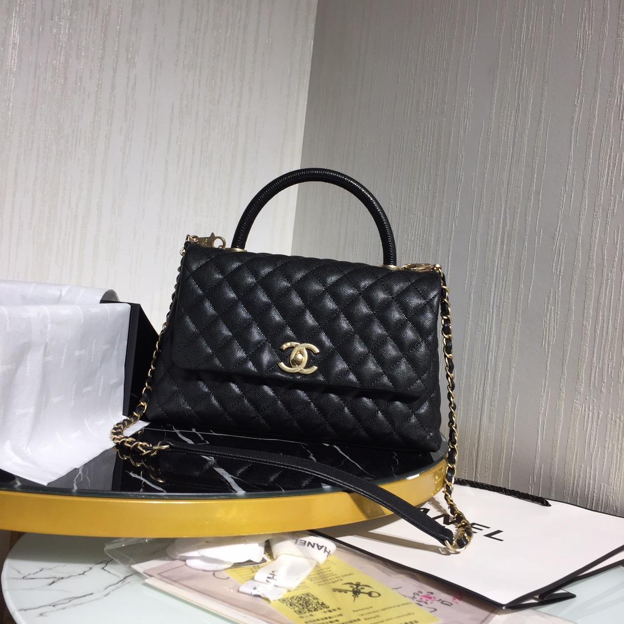Chanel Flap Bag With Top Handle Black - 3