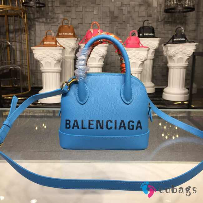 BALENCIAGA VILLE TOP HANDLE XXS BLUE BAG