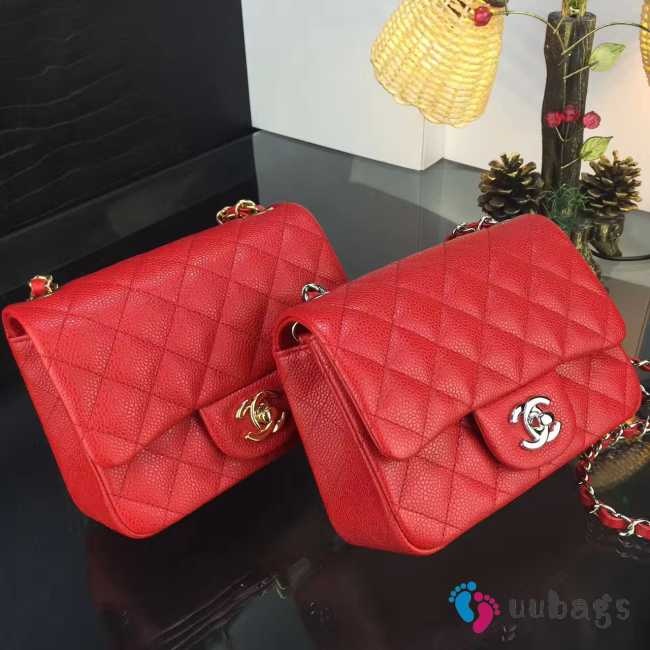 Chanel 17CM Mini Flap Red Bag Caviar Leather With Gold&Silver Hardware