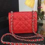 Chanel 17CM Mini Flap Red Bag Caviar Leather With Gold&Silver Hardware - 5