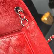 Chanel 17CM Mini Flap Red Bag Caviar Leather With Gold&Silver Hardware - 3