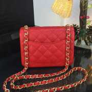 Chanel 17CM Mini Flap Red Bag Caviar Leather With Gold&Silver Hardware - 2