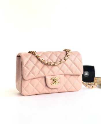 Chanel 20cm Classic Flap Bag Pink Caviar Leather sliver&gold hardware
