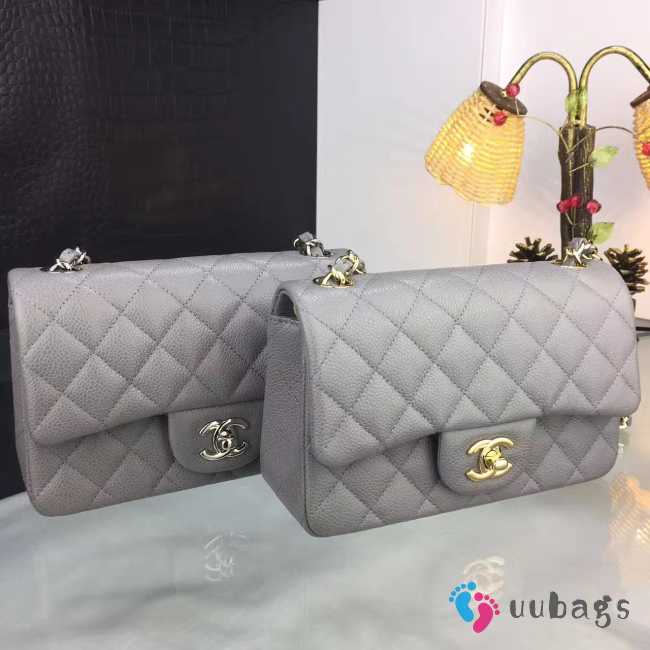 Chanel 20cm Classic Flap Bag Grey Caviar Leather sliver&gold hardware