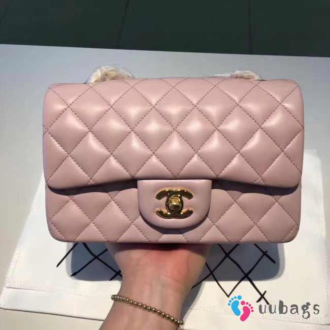 Chanel 20cm Classic Flap Bag Pink Lambskin Leather gold hardware