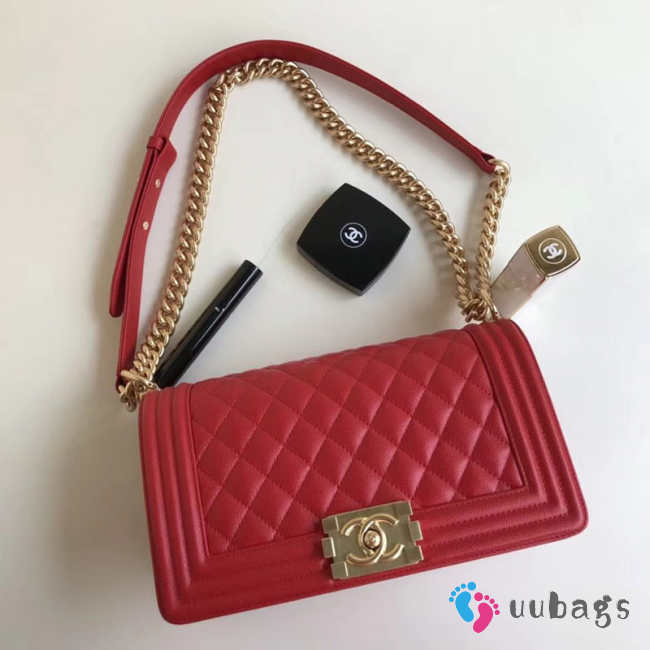 Chanel 25cm Caviar Red leather Boy bag Gold Hardware