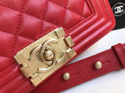 Chanel 25cm Caviar Red leather Boy bag Gold Hardware - 5