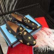 Gucci Jordaan embroidered leather Gucci loafer Black& white - 5