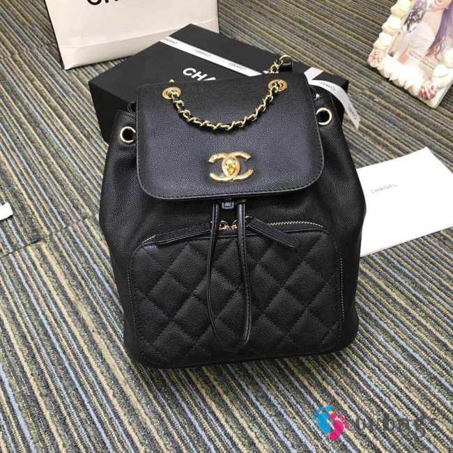 Chanel Fine Grain Embossed Calf Leather Backpack