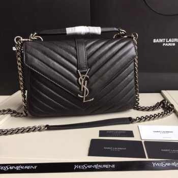 YSL MEDIUM COLLEGE BAG IN BLACK MATELASSÉ LEATHE SILVER HARDWARE