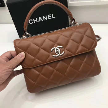Chanel Trendy CC Flap Top Handle Tan Bag with Silver Hardware