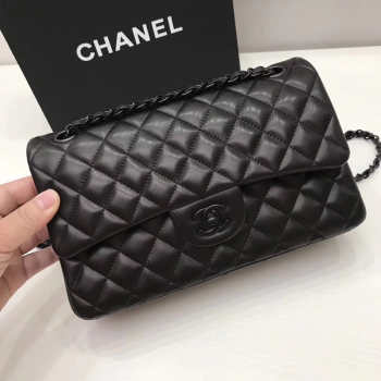 Chanel classic CF Lambskin Soft Leather Quilted Bag 25cm All Black
