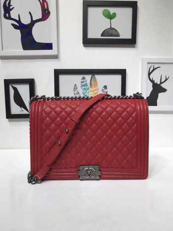 Chanel 30cm Red Caviar Boy Bag