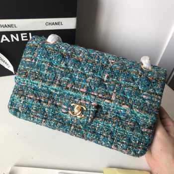 Chanel 25cm Tweed & Gold-Tone Metal Double Flap Bag