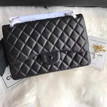 Chanel 30cm CF Lambakin Bag All Black