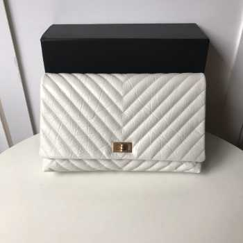 Chanel Palm print calfskin clutch White