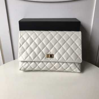 Chanel Palm print calfskin clutch White 002