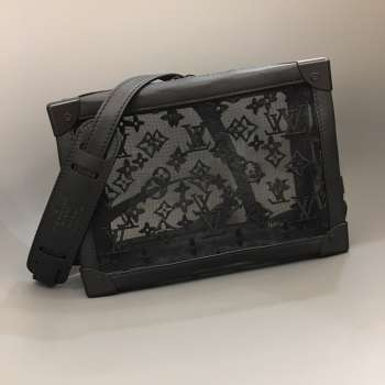 Louis VUITTON Soft Trunk Strap Black Mesh and Leather
