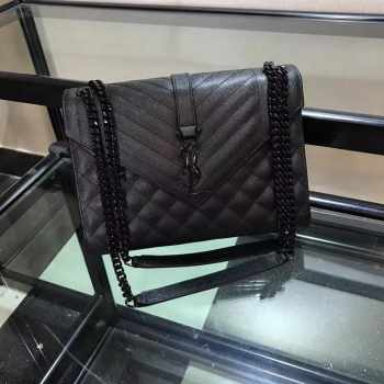 YSL ENVELOPE MEDIUM BAG ALL BLACK