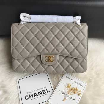 CHANEL 1112 Grey Large Size 30cm Caviar Leather Flap Bag