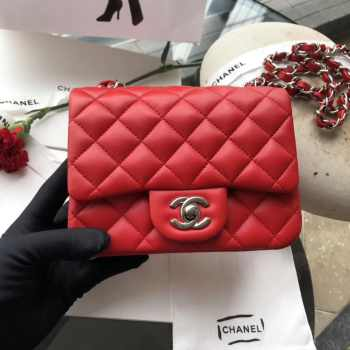 Chanel 17CM Mini Flap Red Bag Lambskin Leather With Gold&Silver Hardware