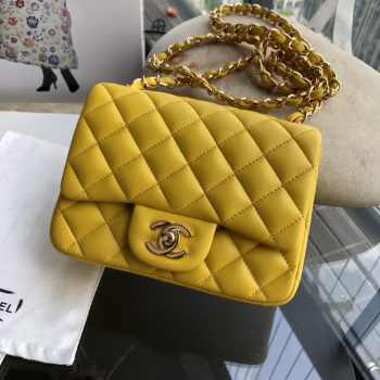 Chanel 17CM Mini Flap Yellow Bag Lambskin Leather With Gold&Silver Hardware