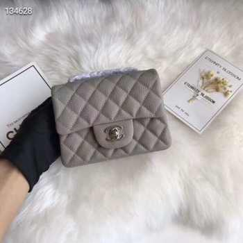 Chanel 17CM Mini Flap Grey Bag Caviar Leather With Silver Hardware