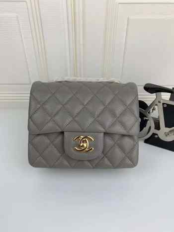 Chanel 17CM Mini Flap Grey Bag Caviar Leather With Gold Hardware