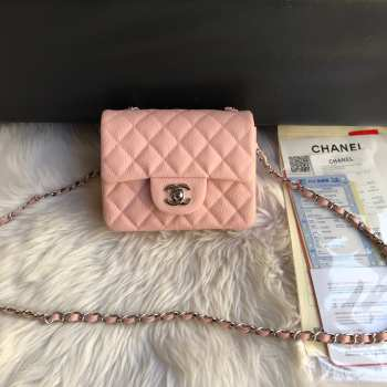 Chanel 17CM Mini Flap Pink Bag Caviar Leather With Gold&Silver Hardware