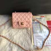 Chanel 17CM Mini Flap Pink Bag Caviar Leather With Gold&Silver Hardware - 5