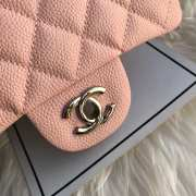 Chanel 17CM Mini Flap Pink Bag Caviar Leather With Gold&Silver Hardware - 4