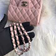 Chanel 17CM Mini Flap Pink Bag Caviar Leather With Gold&Silver Hardware - 3