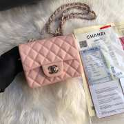 Chanel 17CM Mini Flap Pink Bag Caviar Leather With Gold&Silver Hardware - 2
