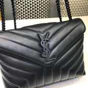 YSL MONOGRAM LOULOU SMALL SIZE ALL BLACK - 5