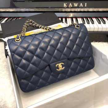 CHANEL 1112 Navy Blue Large Size 30cm Lambskin Leather Flap Bag With Gold Hardware