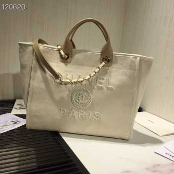 Chanel Deauville Tote Bag White