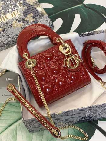 UUbags Lady Dior Mini Red Patent Leather Bag