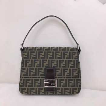 UUbags Fendi Zucca Mamma Baguette Shoulder Bag Black Brown