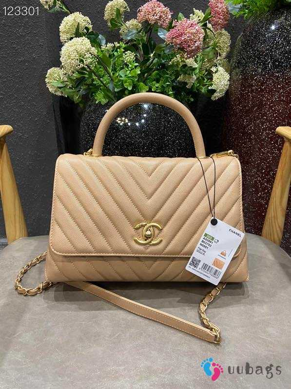 UUbags Chanel Coco Top Handle Bag Beige