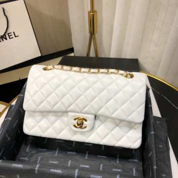 UUbags CHANEL 1112 White Medium Size 2.55 Lambskin Leather Flap Bag With Gold/Silver