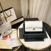 UUbags CHANEL 1112 White Medium Size 2.55 Lambskin Leather Flap Bag With Gold/Silver - 6
