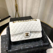 UUbags CHANEL 1112 White Medium Size 2.55 Lambskin Leather Flap Bag With Gold/Silver - 2
