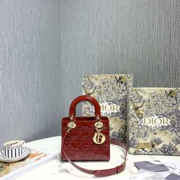 UUbags Lady Dior Patent Red leather 20cm